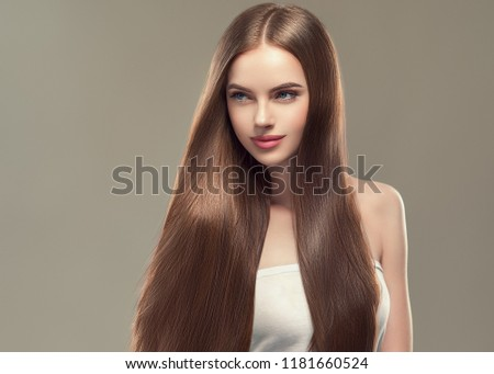 Beautiful long hair brunette woman with beauty hairstyle female model #1181660524