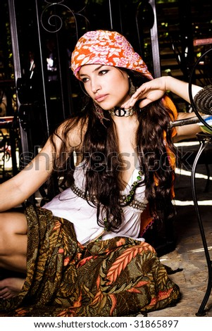 beautiful long hair woman in oriental clothes, outdoor shot