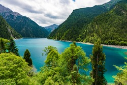 Beautiful Long Lake, the deepest and largest lake in wonderful Jiuzhaigou National Park, China