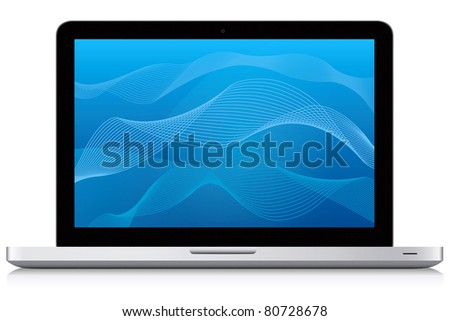 Beautiful looking modern laptop. Abstract blue wave pattern background.