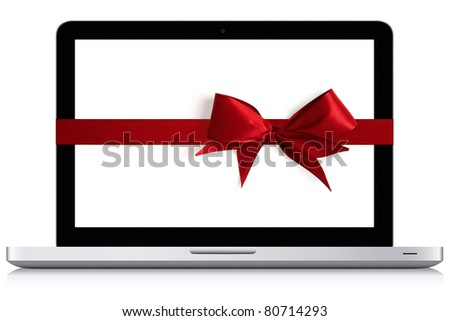 Beautiful looking modern laptop. Isolated on white. Illustration with red bow and ribbon over the display.