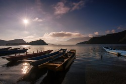 Beautiful lugu lake in the early morning in sichuan province, China