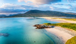 Beautiful Luskentyre beach from Seilebost on the Isle of Harris in the Western Isles of Scotland