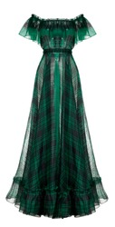 Beautiful luxurious female green chiffon long plaid dress, clipping, ghost mannequin, isolated on white background, front view
