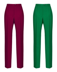 Beautiful luxurious female set, classic bright trousers, wine red and emerald green, clipping path, ghost mannequin, isolated on white background, front view