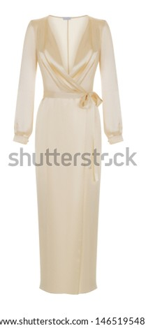 Beautiful luxurious female silk ivory pajamas robe with belt and long sleeves, front view, clipping, ghost mannequin, isolated on white background #1465195481