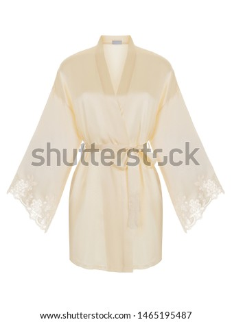Beautiful luxurious female silk ivory pajamas robe with belt and long sleeves, front view, clipping, ghost mannequin, isolated on white background #1465195487