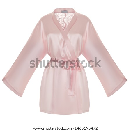 Beautiful luxurious female silk pink pajamas robe with lace, with belt and long sleeves, front view, clipping, ghost mannequin, isolated on white background #1465195472