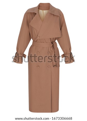 Beautiful luxurious trendy beige brown trench coat isolated on white background, clipping, ghost mannequin Stock photo ©