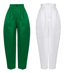 Beautiful luxurious women's set, classic bright pants of an unusual shape, white and emerald green, clipping, ghost mannequin, isolated on white background, front view