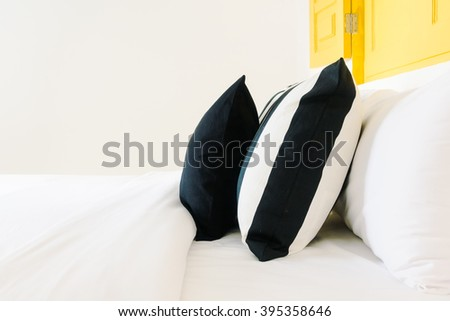 Beautiful luxury pillow on bedroom decoration in bedroom hotel - Vintage Light Filter #395358646
