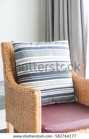 Beautiful luxury pillow on sofa decoration in livingroom interior for background - Vintage Filter #582766177