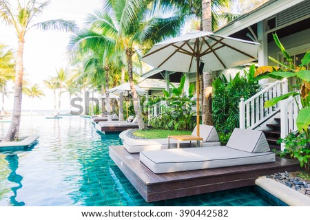 Beautiful luxury swimming pool in hotel pool resort - Boost up color Processing