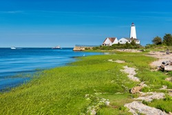 Beautiful Lynde Point Lighthouse, Old Saybrook, Connecticut, USA