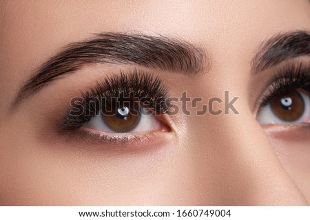 Beautiful macro photography of a woman's eye with extreme makeup of long lashes. Perfect long lashes, imitation. Rejection of cosmetics. Close-up fashion eye makeup, eyebrow lamination is beautiful
