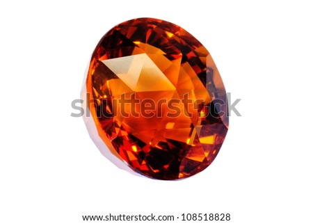Beautiful madeira colored, round quartz citrine isolated on white. Wonderful facets.