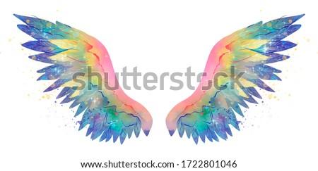 Beautiful magic shiny glittery rainbow wings, watercolor effect