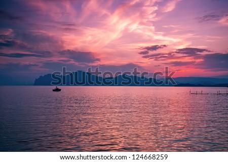 Beautiful magic sunset over the sea