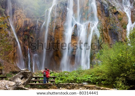 Beautiful majestic waterfall in the scenery of Plitvice Lakes National Park in Croatia