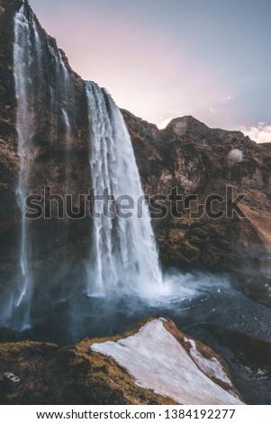 Beautiful majestic waterfall Seljalandsfoss on Iceland #1384192277