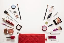 Beautiful make up bag with cosmetics