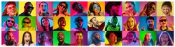 Beautiful male and female portrait on multicolored neon light backgroud. Smiling, surprised, screaming. Human emotions, facial expression. Creative collage made of different photos of 16 models.