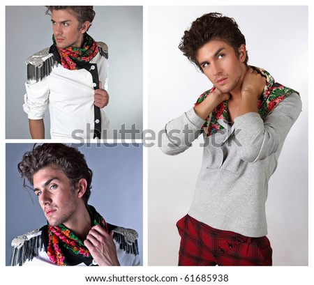 Beautiful man in exclusive design clothes on manners old-slavic. �¡ollage from 3 photos.