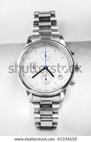 Beautiful Man watch with white background. Close up photo.