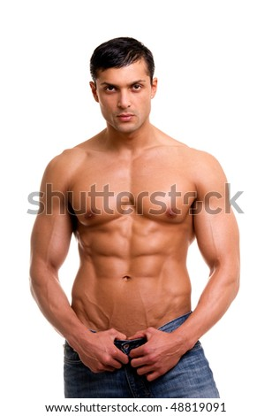 Beautiful man with muscular body isolated on white.