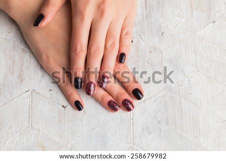 Beautiful manicure nails. Beautiful female hands with nails painted nails. Art manicure. Art manicure. Creative manicure. Taking Close-up nails. Art nails. Nails art. Art manicured fingers.