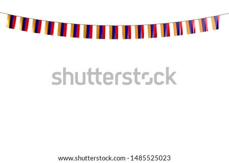 beautiful many Armenia flags or banners hanging on rope isolated on white - any celebration flag 3d illustration