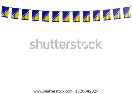 beautiful many Bosnia and Herzegovina flags or banners hangs on string isolated on white - any feast flag 3d illustration