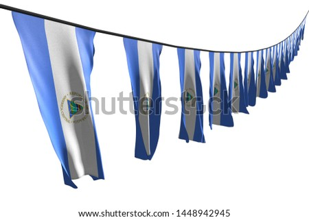 beautiful many Nicaragua flags or banners hangs diagonal with perspective view on rope isolated on white - any feast flag 3d illustration