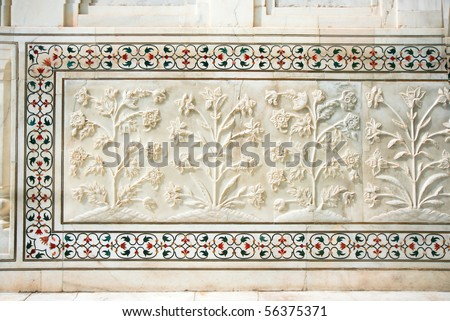 Beautiful marble carvings on famous mosque Taj Mahal, Agra, India