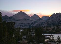 Beautiful Marie Lake at sunset on the John Muir Trail