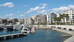 Beautiful Marina and round port of Zea or Pasalimani in the heart of Piraeus, Attica, Greece