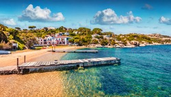 Beautiful marine scenery. Wonderful morning view of Sardinia. Nice summer scene of public beach of Rafael port, Province of Olbia-Tempio, Italy, Europe. Calm seascape om Mediterranean sea.