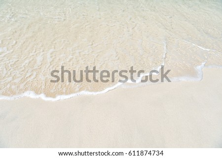 Beautiful marine view on ?aribbean sea coast line with clean wavy surf ocean water on sandy beach in st. john, Antigua at sunny day as natural background #611874734