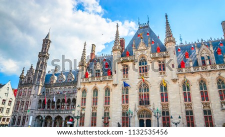 Beautiful Market Square (Markt) in Bruges, Belgium.