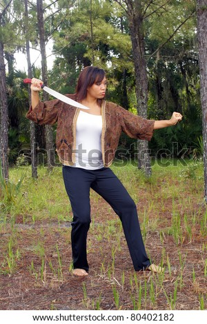 Beautiful Martial Artist Outdoors (3)