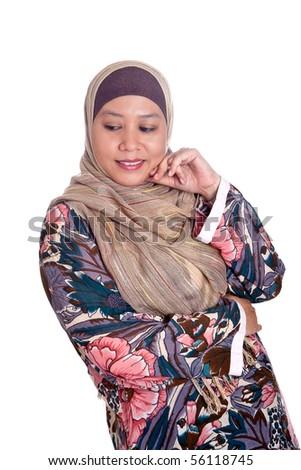 Beautiful mature Muslim woman in scarf