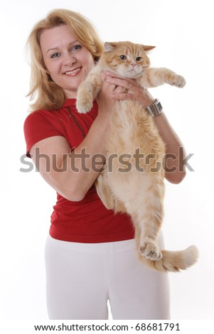 Beautiful mature woman and her cat