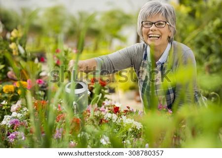 Beautiful mature woman in a garden watering flowers