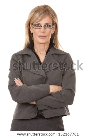 beautiful mature woman wearing business outfit on white background #152167781