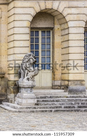 Beautiful Medieval landmark - royal hunting castle Fontainbleau. Palace of Fontainebleau - one of largest royal chateaux in France (55 km from Paris), UNESCO World Heritage Site. Architectural details