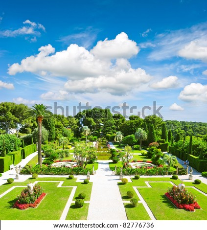 beautiful mediterranean garden on the french riviera - stock photo
