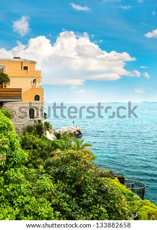 Beautiful Mediterranean Landscape View Of Luxury Resort And Bay French Riviera France