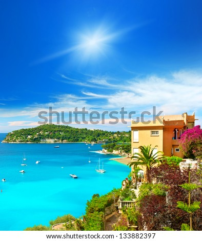 beautiful mediterranean landscape, view of luxury resort and bay of Villefranche-sur-Mer, Cote d'Azur, french riviera, France near Nice and Monaco