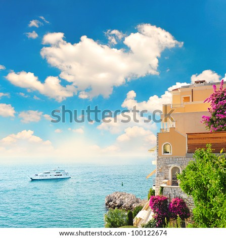 beautiful mediterranean landscape. view of sea and luxury resort of Cote d'Azur in Provence, France