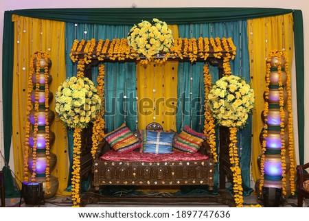 beautiful mehndi event flower decoration Stock photo ©